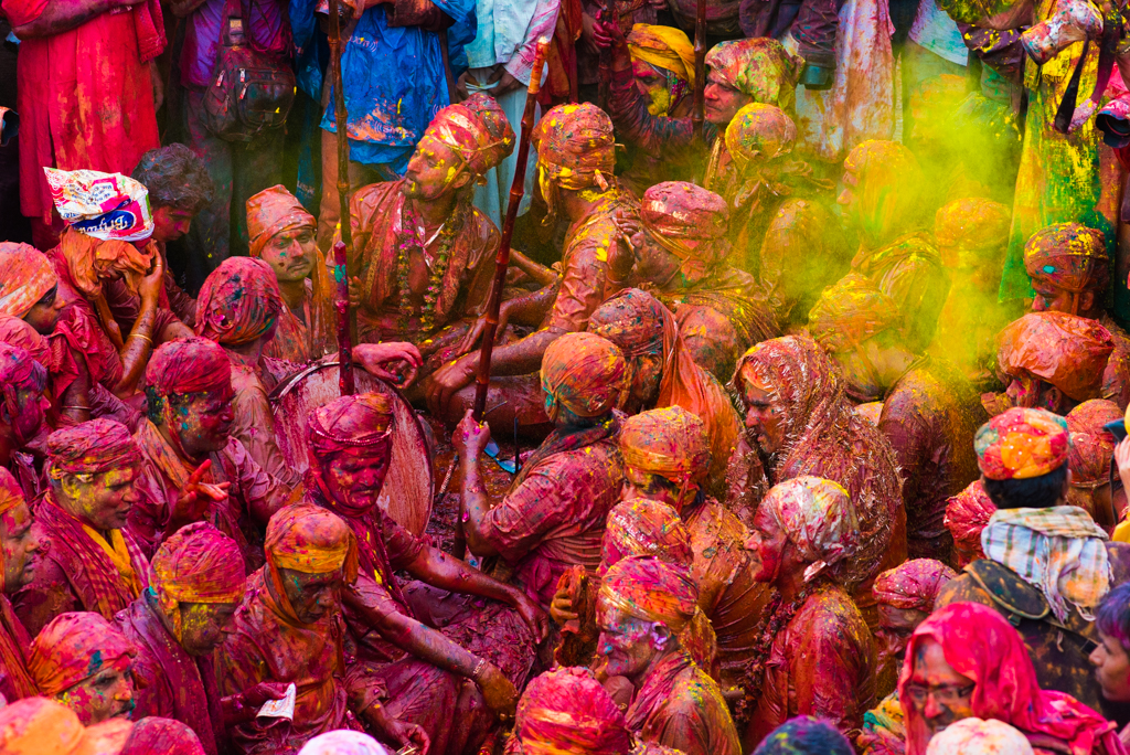 Colorful faces during holi festival, festivals of India, pictures of holi celebration