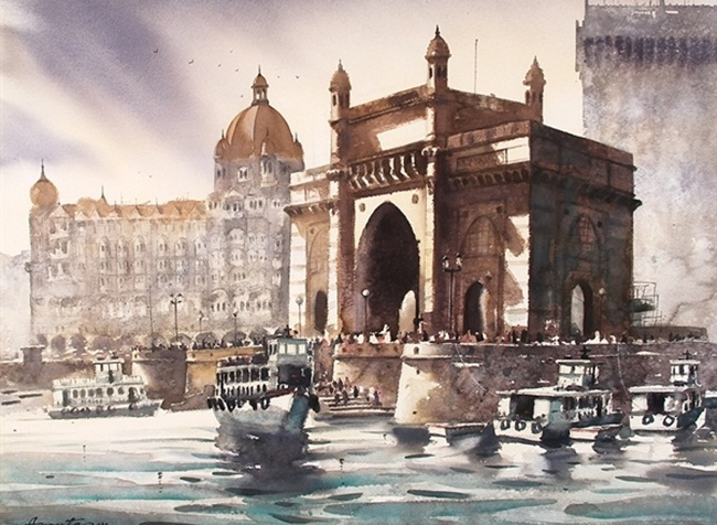 Gateway of India pictures, Mumbai paintings, old heritage of India