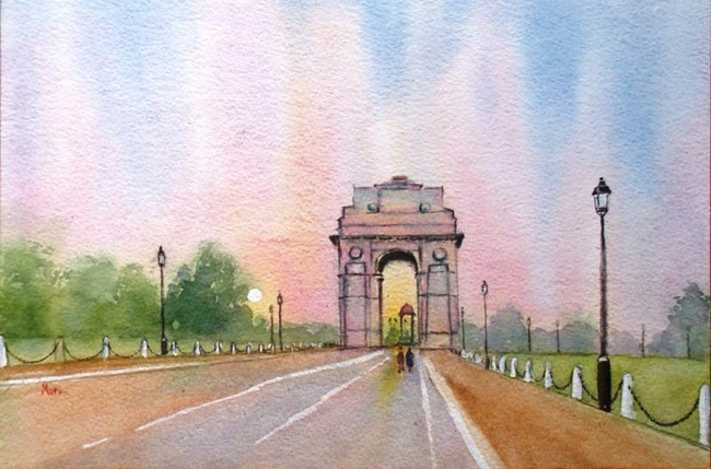 India Gate pictures, Heritage India paintings, Delhi tourist attractions