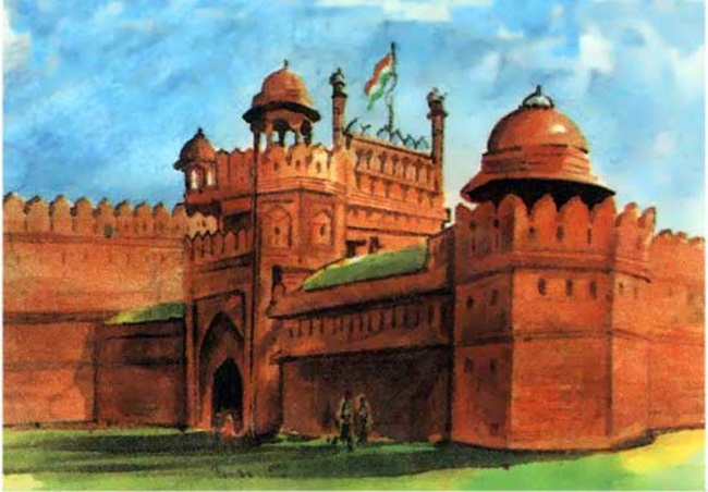 Red Fort Delhi pictures, Heritage India paintings, IndianEagle travel
