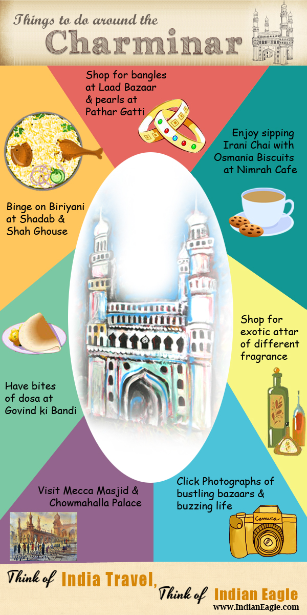 charminar hyderabad, life around charminar, Indian Eagle travel, travel infographics, things to do in Hyderabad