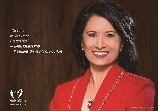 Dr Renu Khator, Houston University, Saris to Suits Calendar, Texas Indians