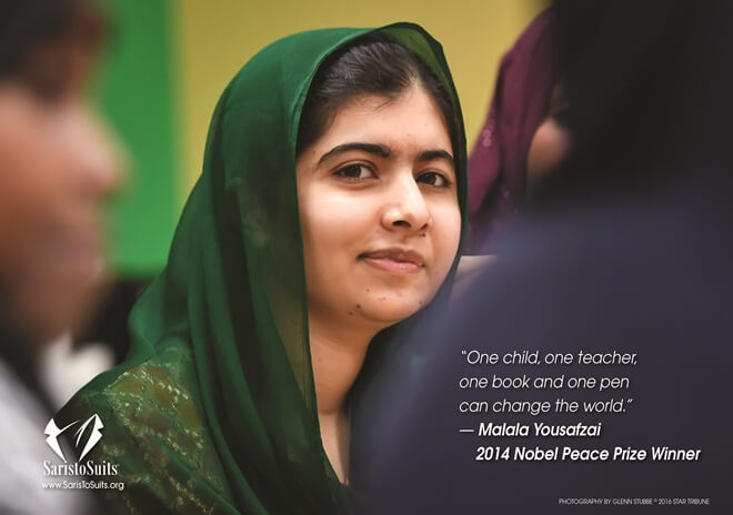 Malala Yousafzai, girls education, women activists, Saris to suits calendar