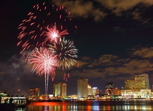 New Orleans party venues, USA new year eve, fireworks in America