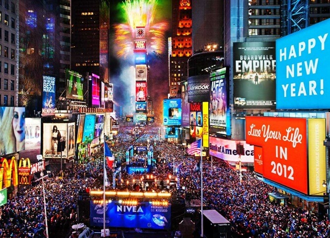 New year's eve at Times Square, New York new year 2017, fireworks in USA