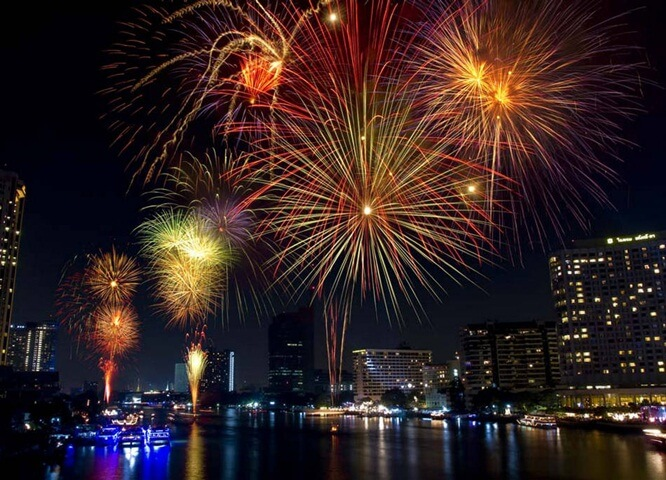 new year fireworks in Chicago, new year's eve in USA