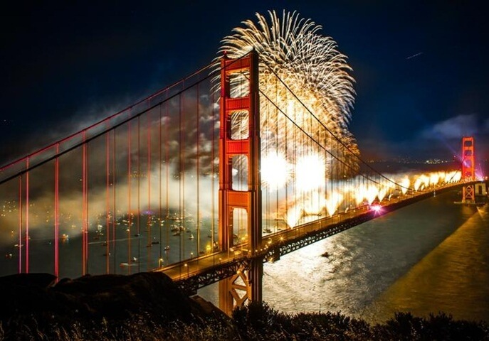 New Year's eve in USA, Fireworks in San Francisco, new year celebration USSA