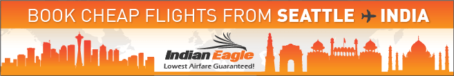 Seattle to India flights, cheap flights to India, Indian Eagle travel booking