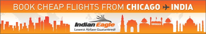 Chicago to India flights, Indian Eagle coupons, cheap India flight s booking online