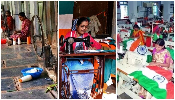 Indian women at work, women making Tricolor Bengeri Karnataka, making of Indian National Flag